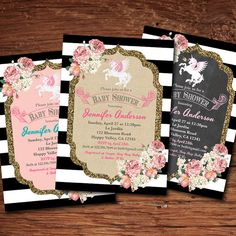 Unicorn baby girl shower invitation. French black and by CrazyLime