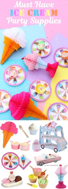 Must have Ice Cream Party Supplies for a girl birthday party!