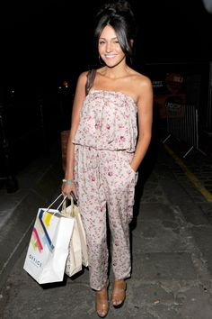 Michelle Keegan Goes For A Cute Girlie Look In A Floral Jumpsuit Out And About In Manchester, 2011