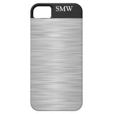 Personalized Faux Stainless Steel and Black iPhone 5 Cover
