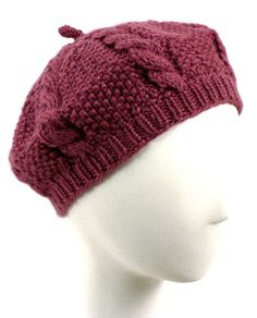 Knitted - Caron cabled beret - Free pattern - Downloaded and printed  Horgolt Sapkák ecdbad215b