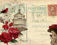 Digital grande descargar collage Vintage por CottageRoseGraphics