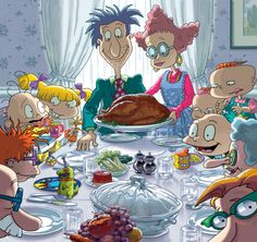 Rugrats version of a Norman Rockwell Thanksgiving. Nickelodeon Cartoons, Rugrats Cartoon, 1990 Cartoons, Nickelodeon Girls, Classic Cartoons, Cool Cartoons, Retro Cartoons, 90s Childhood, Retro Posters