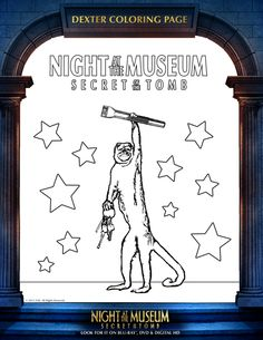 Night at the Museum Printable Dexter Coloring Page