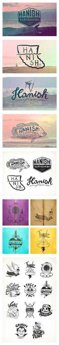 brand visual development and special logos created for each one of Hanish's surfboards models according to its respective personalities and performances