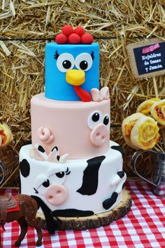 Fun animal cake at a farm birthday party! See more party ideas at CatchMyParty.com!