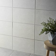 Cimenti Light Grey Matt Ceramic Wall tile Pack of 10 . This wall tile is ideal for bathroom shower walls & kitchen. Wall tile by Colours