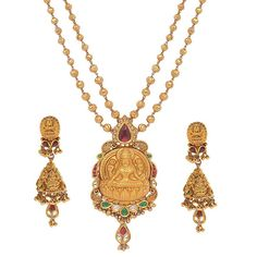 The Goddess Laxmi is the centrepiece of this necklace, from the Temples of India collection by Mumbai-based Anmol Jewellers.