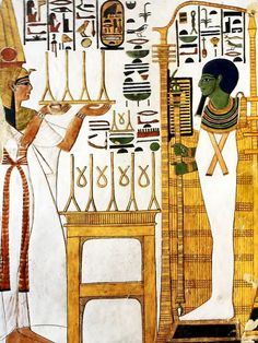 Queen Nefertari making the offering of pure linen to the god Ptah