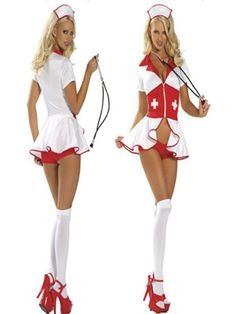 /Sexy White Nurse Costume Dress Set with Hat