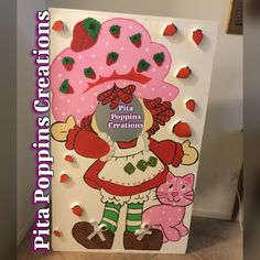 Strawberry shortcake head cut out booth birthday party