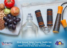 Be sure to join Jeff Stein and myself at the Nolan County Health Fair at TSTC Student Center today from 10AM - 12:30PM. The Health Fair, sponsored by Rolling Plains Memorial Hospital, will run through 1:30PM and provides free health screenings and information to the public! There is no cost to attend.