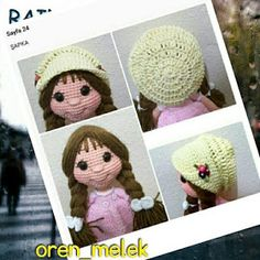 Leithygurumi: Amigurumi Lâl Bebek Recette turque gratuite - Design By Melek An Crochet Dolls, Crochet Hats, Crochet Baby Clothes, Amigurumi Toys, Food Design, Crochet Patterns, Diy Projects, Stitch, Handmade