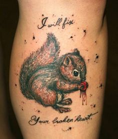 Squirrel tattoo - with acorn, without blood, none of this text or background decoration