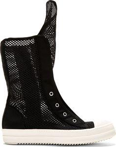 Rick Owens Drkshdw Black Double-Mesh Ramones Boots