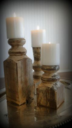DIY craft recycled upcycled Porch Post Candlesticks Rustic decoration +++Manualidad reciclar reutilizar piezas de barandilla para velas candelabros