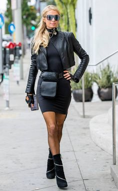 Paris Hilton from The Big Picture: Today's Hot Photos Paris Hilton, All Black Fashion, All Black Outfit, Black Outfits, Spice Girls, Black Silk Shirt, Mode Glamour, Bikini, Blouse Outfit