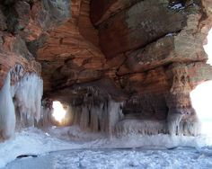 Apostle Islands Ice Caves  For a truly unique caving experience, go no further than the shorelines of Apostle Islands in Wisconsin's Lake Superior.    In the summer, kayaking along the shore enables visitors to observe each exquisite cavern. When the lake freezes over in the winter, the caves follow suit. Visitors trade in their kayaks for rugged snow boots, and trek off on foot to see frozen waterfalls and enormous icicles.