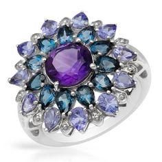 Sterling Silver Multi-gemstone Pear-cut Ring