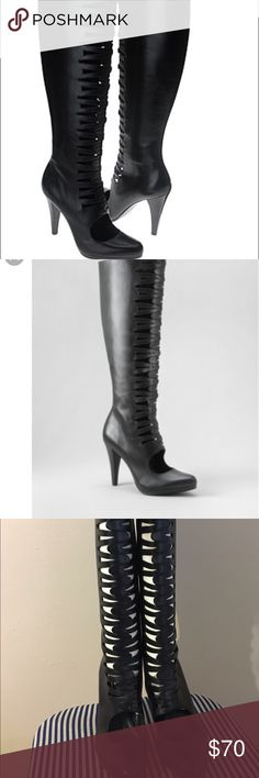 """Calvin Klein leather cutout boots Calvin Klein leather cutout boots.  Knee high side zip.  Only worn 1 time, I no longer have the box.  Wood stiletto 4"""" heel.  ❗️The first couple of pictures are not mine.❗️No trades Calvin Klein Shoes Heeled Boots"""