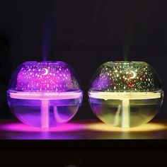 Crystal Projection USB Air Humidifier LED Lights Ultrasonic Aroma Diffuser Fogger Mini Home Office Air Purifier Night Light Projector, Led Projector, Led Night Light, Night Lights, Projector Reviews, Sky Night, Mist Diffuser, Aroma Diffuser, Aromatherapy Diffuser