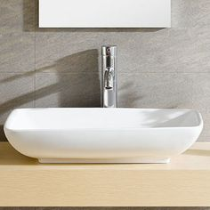 Features:  -Modern collection.  -Sink finish: White.  -Shape: Rectangle.  -Extra smooth easy clean finish.  -Faucet and drain not included.  -Vessel is finished all around.  Installation Type: -Vessel