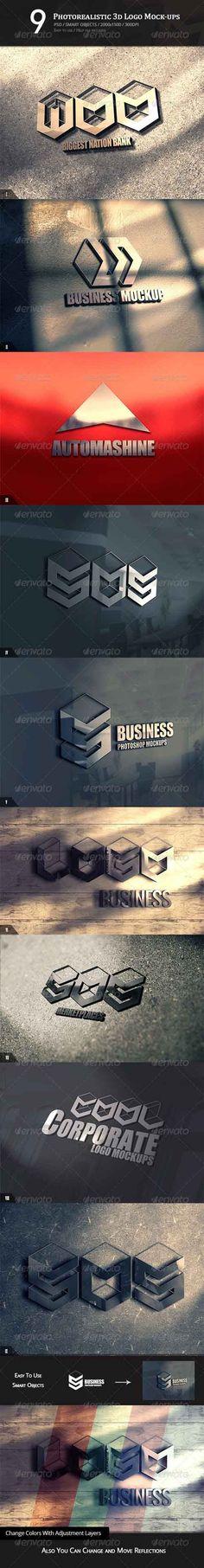 9 Photorealistic 3D Logo Mock-ups PSD » Free Hero Graphic Design: Vectors AEP Projects PSD Sources Web Templates – HeroGFX.com