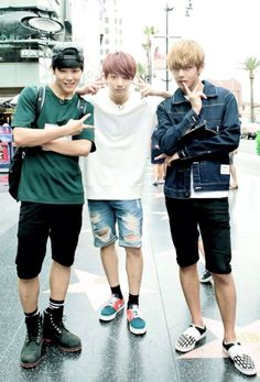 "Jimin, Jungkook, and V from Bts. LA visit for KCon 2014 and filming for ""American Hustle Life"""