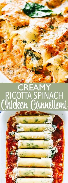 Creamy Ricotta Spinach and Chicken Cannelloni - Cannelloni pasta packed with cheesy ricotta and chicken filling, and topped with a creamy tomato sauce. It's DELICIOUS!