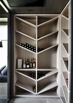 Wine Storage - The black house. A contemporary take on a traditional farm house from Canny Architecture set on the rolling hills of Flinders on the Mornington Peninsula. Modern House Design, Home Design, Design Ideas, Interior Design, Design Design, Interior Colors, Rack Design, Storage Design, Wine Cabinets