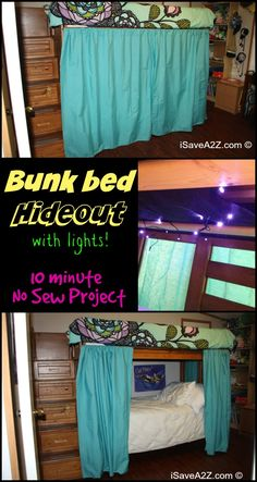 Bunk Bed Hideout with No Sew Curtains - only took me about 10 minutes to make it and I scored major brownie points with  my child!  WIN!  Everyday when she gets home from school she goes straight to her hideout to complete her daily reading!  Now THAT is a parent win for sure!  Plus, when she forgets to make her bed I can just shut the curtain so I don't have to see it!  lol Gotta love simple DIY projects!
