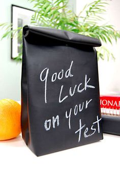 chalkboard fabric lunch sack
