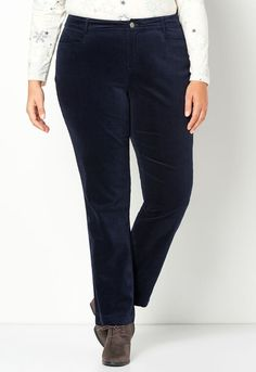 Perfect for chillier days, these so-soft corduroy pants pair beautifully with all kinds of blouses, tops, sweaters and vests. Relaxed Fit (formerly Cl... Plus Size Pants, Curvy Women Fashion, Corduroy Pants, Cl, Vests, Thighs, Black Jeans, Blouses, Skinny Jeans
