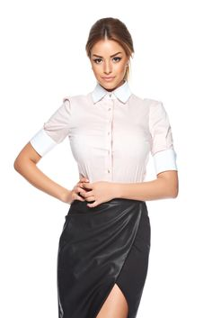 PrettyGirl Simpathy Rosa Shirt, women`s shirt, pointed collar, the sleeve is… Product Label, Product Launch, S Shirt, Point Collar, Office Fashion, Dress For You, Daily Wear, Your Style, Satin