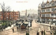 A handcoloured postcard of Camberwell Green. The Green was ancient common land bought by the Vestry in the late century to protect it from development. Camberwell London, Uk History, London History, Local History, Vintage London, Old London, Victorian London, Old Pictures