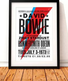 David Bowie concert poster, David Bowie art print, music inspired ...