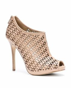 Shana Cutout Leather Peeptoe Shooties - would love to find something like this without so severe of a heel!
