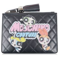 MOSCHINO Powerpuff Girls Quilted Pouch Clutch ($405) ❤ liked on Polyvore featuring bags, handbags, clutches, quilted purse, leather zipper pouch, leather handbags, zip pouch and quilted leather handbags