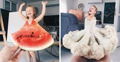 Creative Mom and Daughter Create Dresses with Flowers, Food and Forced Perspective Forced Perspective Photography, Perspective Photos, Creative Pictures, Cool Photos, Creative Photography, Photography Poses, Inspiring Photography, Photography Tutorials, Beauty Photography