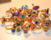 Vintage 1970's Toy Rings -- remember these? I was your queen. :) I got one of these every time I went to the dentist.