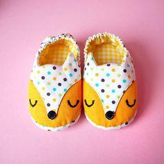Yellow Fox, Prewalker Shoes, Newborn Booties, Infant Shoes, Fox Shoes, Elastic Baby Booties, The Fantastic Fox 02