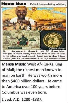 Thee Mansa Musa Passing out all of that gold motivated Europeans and Arabs to pillage Africa at a time of economic and political transformation Black History Facts, Black History Month, Black Hebrew Israelites, African Royalty, Black Pride, My Black Is Beautiful, African American History, World History, History Education