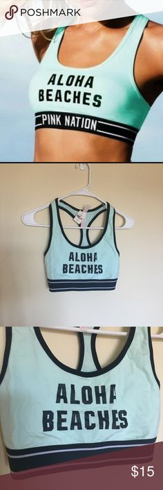 VS Pink Aloha Beaches Sports Bra Limited edition Victoria's Secret Pink Aloha Beaches bra. Super cute cotton sports bra with elastic band, pink nation labeled on back of band. Size small. Victoria's Secret Tops Crop Tops