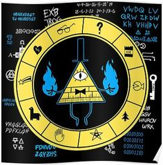 'Gravity Falls - Bill Cipher Zodiac' Poster by TheMungoman Gravity Falls Anime, Gravity Falls Bill Cipher, Libro Gravity Falls, Gravity Falls Poster, Reverse Pines, Reverse Falls, Gravity Falls Personajes, Geeks, Fall Humor