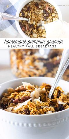 Homemade pumpkin granola makes a healthy fall treat or breakfast. Learn how to make granola crunchy with this simple recipe. Care Skin Condition and Treatment Oil Makeup Real Food Recipes, Healthy Recipes, Healthy Options, Healthy Desserts, Fall Recipes, Paleo Pumpkin Bread, How To Make Granola, Pumpkin Granola, Fall Breakfast
