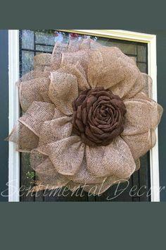 2018 August Wreath Creations from the Trendy Tree Custom Designer List Sharing a burlap sunflower wr Burlap Flower Wreaths, Sunflower Wreaths, Burlap Flowers, Deco Mesh Wreaths, Fall Wreaths, Burlap Wreath, Door Wreaths, Burlap Crafts, Wreath Crafts