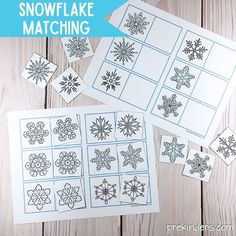 Snowflake Matching Cards Printable: Winter Visual Discrimination Skills for Pre-K, Preschool