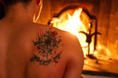 Compass trashpolka tattoo on my back. Quote: Find your way. #compass #tattoo #trashpolka #back #fire