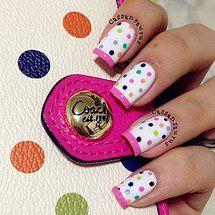 Pink French Nails with Polka Dots ❤ Get Nails, Fancy Nails, Hair And Nails, French Pedicure, Manicure E Pedicure, Pedicures, Gorgeous Nails, Pretty Nails, Nail Art Designs