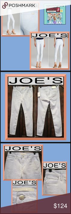 JOE'S The High Water Coated Skinny Blue Jean Pant JOE'S |NEW| CHAMBRAY The High Water Supper Skinny Cotton Baby Blue Jean Pant 27. Contoured Fit Color:  Baby Light Blue Five pocket classic Mid rise Belt loops Pockets and body have top stitching Leather logo patch on back right pocket Zip fly with brand-name shank closure Aged silver-tone hardware 90% Cotton/6% Elastanmultiester/4% Elastane Machine wash cold/Hang to dry Imported MSRP $189 Joe's Jeans Jeans Skinny